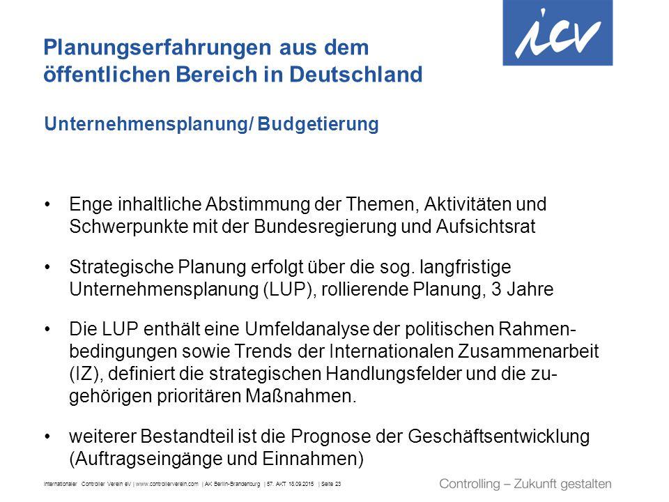 Internationaler Controller Verein eV | www.controllerverein.com | AK Berlin-Brandenburg | 57. AKT 18.09.2015 | Seite 23 Unternehmensplanung/ Budgetier