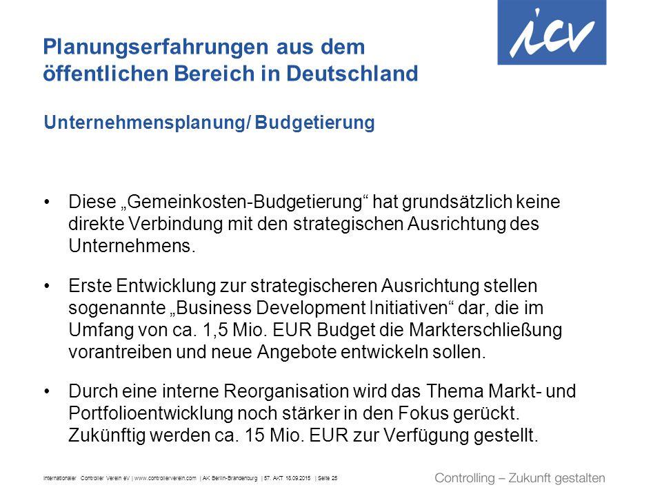 Internationaler Controller Verein eV | www.controllerverein.com | AK Berlin-Brandenburg | 57. AKT 18.09.2015 | Seite 25 Unternehmensplanung/ Budgetier
