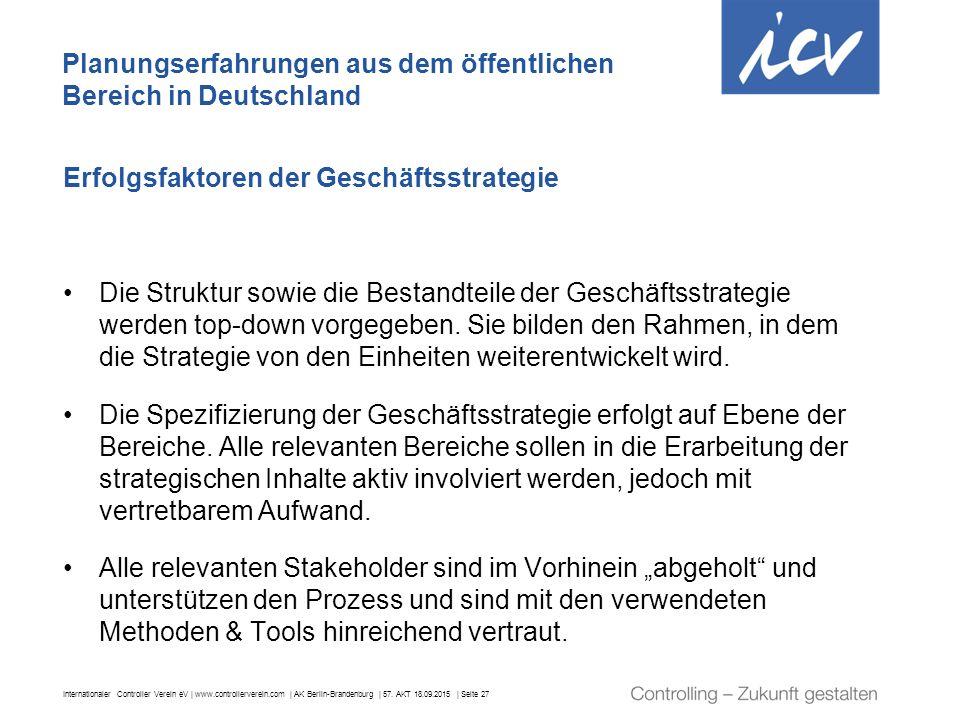 Internationaler Controller Verein eV | www.controllerverein.com | AK Berlin-Brandenburg | 57. AKT 18.09.2015 | Seite 27 Erfolgsfaktoren der Geschäftss