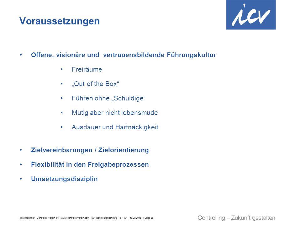 Internationaler Controller Verein eV | www.controllerverein.com | AK Berlin-Brandenburg | 57. AKT 18.09.2015 | Seite 35 Voraussetzungen Offene, vision