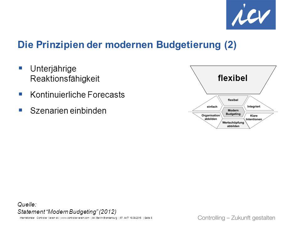 Internationaler Controller Verein eV | www.controllerverein.com | AK Berlin-Brandenburg | 57. AKT 18.09.2015 | Seite 8 Die Prinzipien der modernen Bud