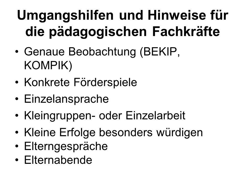 Umgangshilfen und Hinweise für die pädagogischen Fachkräfte Genaue Beobachtung (BEKIP, KOMPIK) Konkrete Förderspiele Einzelansprache Kleingruppen- ode