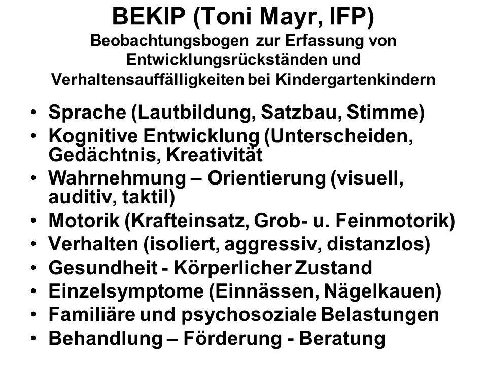 BEKIP (Toni Mayr, IFP) Beobachtungsbogen zur Erfassung von Entwicklungsrückständen und Verhaltensauffälligkeiten bei Kindergartenkindern Sprache (Laut