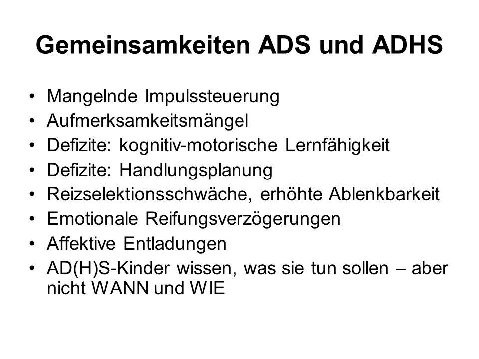 Gemeinsamkeiten ADS und ADHS Mangelnde Impulssteuerung Aufmerksamkeitsmängel Defizite: kognitiv-motorische Lernfähigkeit Defizite: Handlungsplanung Re