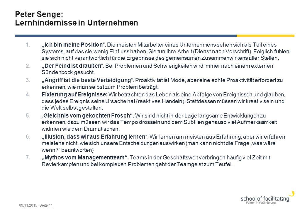 """Peter Senge: Lernhindernisse in Unternehmen 1.""""Ich bin meine Position"""". Die meisten Mitarbeiter eines Unternehmens sehen sich als Teil eines Systems,"""