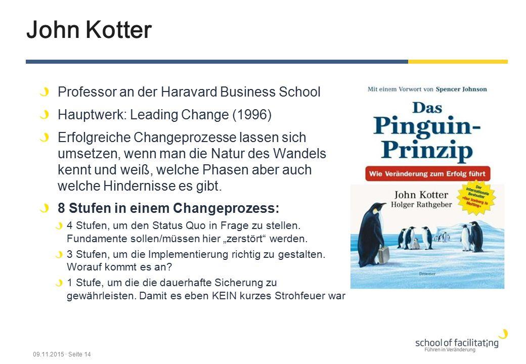 John Kotter Professor an der Haravard Business School Hauptwerk: Leading Change (1996) Erfolgreiche Changeprozesse lassen sich umsetzen, wenn man die Natur des Wandels kennt und weiß, welche Phasen aber auch welche Hindernisse es gibt.