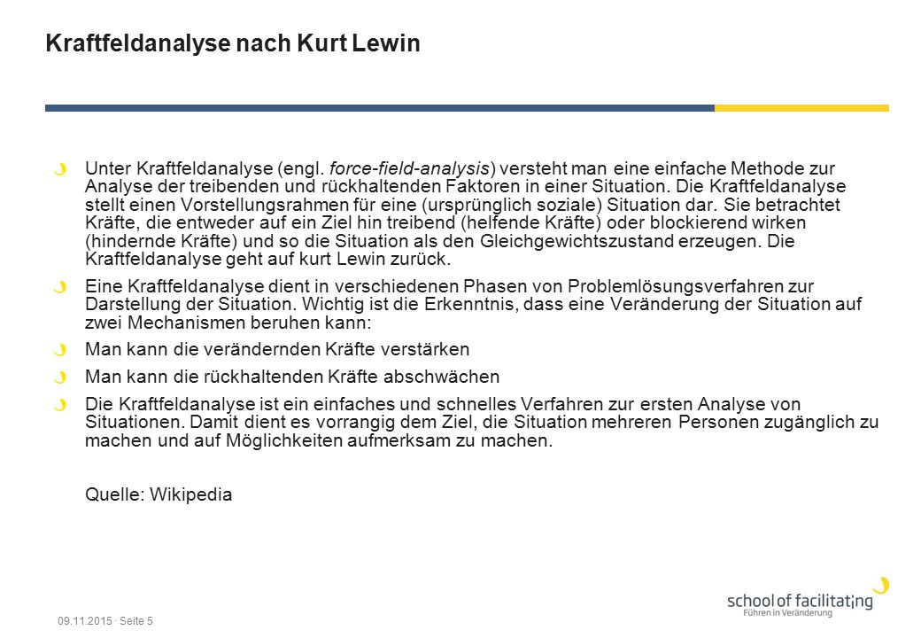 Kraftfeldanalyse nach Kurt Lewin Unter Kraftfeldanalyse (engl. force-field-analysis) versteht man eine einfache Methode zur Analyse der treibenden und