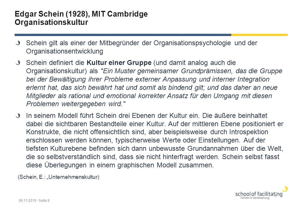 Edgar Schein (1928), MIT Cambridge Organisationskultur Schein gilt als einer der Mitbegründer der Organisationspsychologie und der Organisationsentwicklung Schein definiert die Kultur einer Gruppe (und damit analog auch die Organisationskultur) als Ein Muster gemeinsamer Grundprämissen, das die Gruppe bei der Bewältigung ihrer Probleme externer Anpassung und interner Integration erlernt hat, das sich bewährt hat und somit als bindend gilt; und das daher an neue Mitglieder als rational und emotional korrekter Ansatz für den Umgang mit diesen Problemen weitergegeben wird. In seinem Modell führt Schein drei Ebenen der Kultur ein.