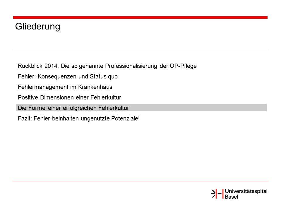 Gliederung Rückblick 2014: Die so genannte Professionalisierung der OP-Pflege Fehler: Konsequenzen und Status quo Fehlermanagement im Krankenhaus Posi