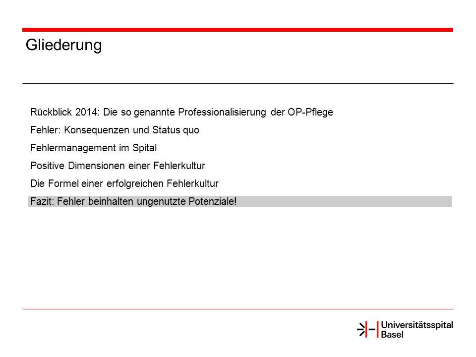 Gliederung Rückblick 2014: Die so genannte Professionalisierung der OP-Pflege Fehler: Konsequenzen und Status quo Fehlermanagement im Spital Positive