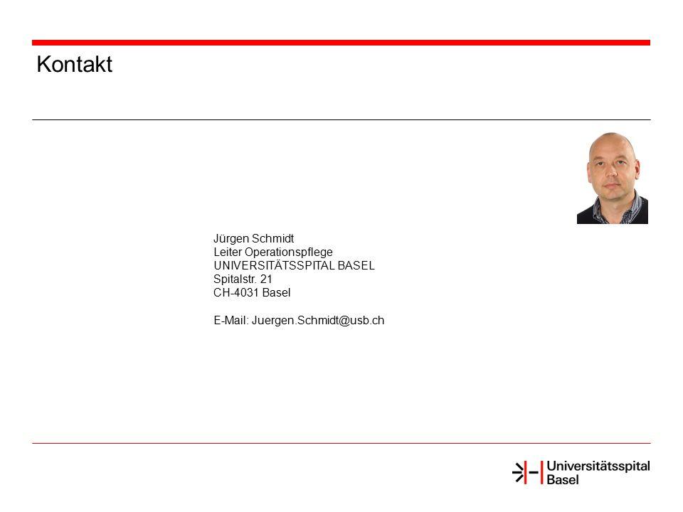 Kontakt Jürgen Schmidt Leiter Operationspflege UNIVERSITÄTSSPITAL BASEL Spitalstr. 21 CH-4031 Basel E-Mail: Juergen.Schmidt@usb.ch