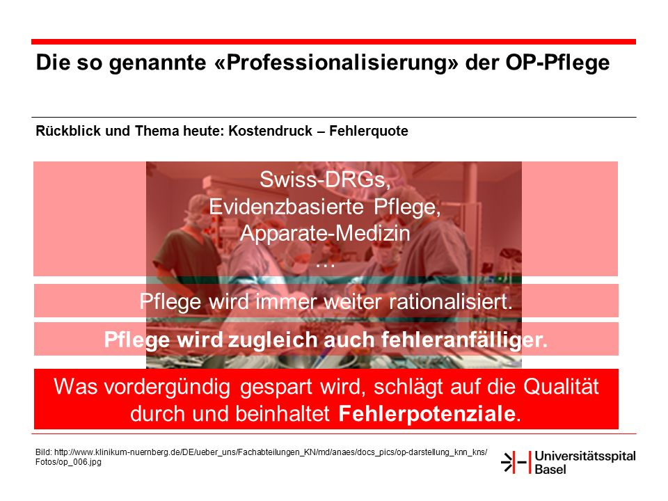 Die so genannte «Professionalisierung» der OP-Pflege Rückblick und Thema heute: Kostendruck – Fehlerquote Bild: http://www.klinikum-nuernberg.de/DE/ue