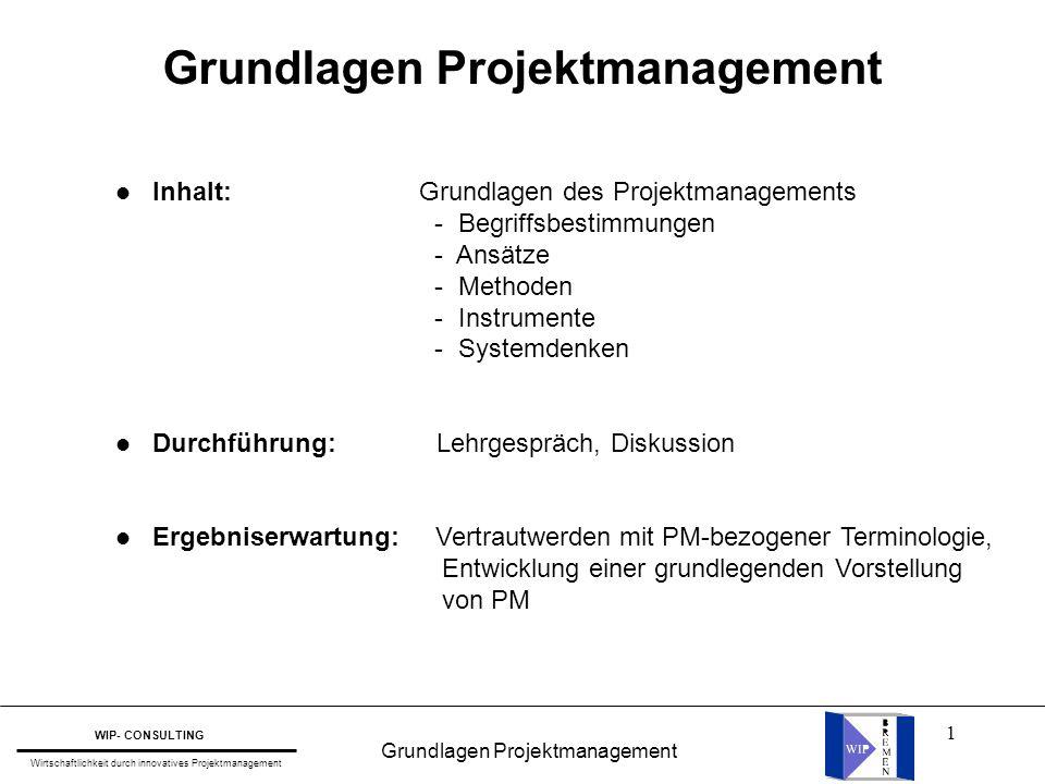 1 Grundlagen Projektmanagement WIP- CONSULTING Wirtschaftlichkeit durch innovatives Projektmanagement l Inhalt: Grundlagen des Projektmanagements - Be