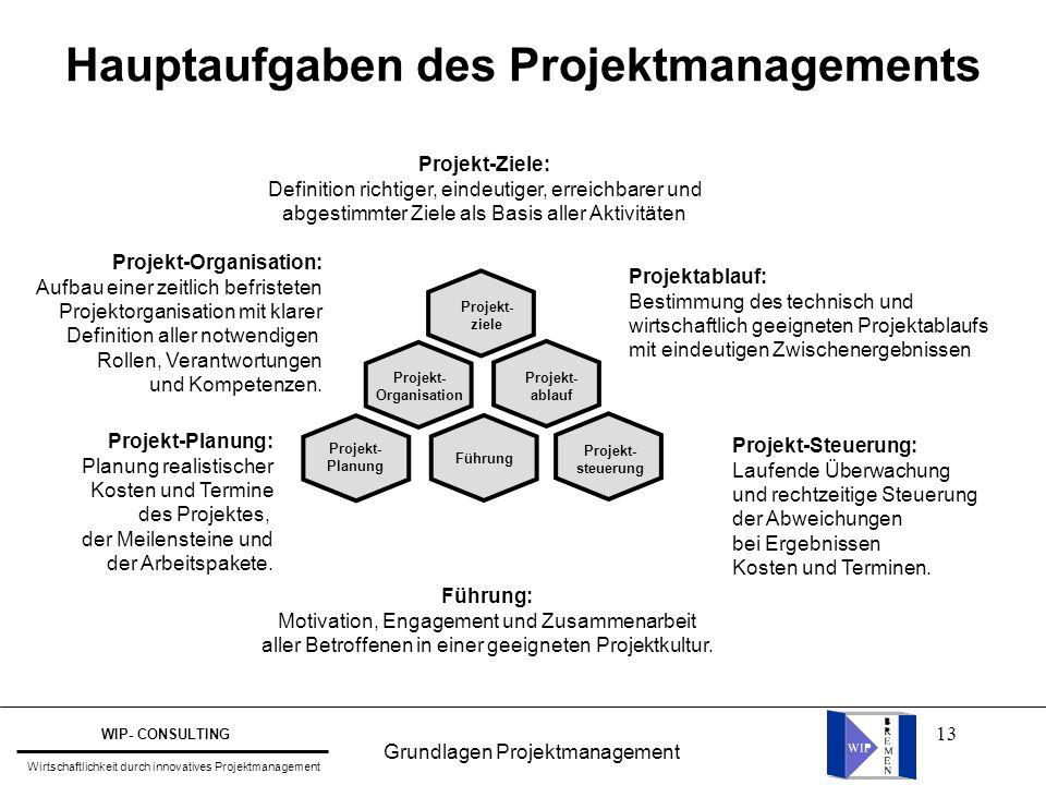 13 Hauptaufgaben des Projektmanagements Projekt- ziele Projekt- steuerung Führung Projekt- Planung Projekt- ablauf Projekt- Organisation Projekt-Ziele
