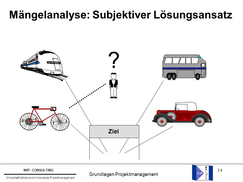 14 Mängelanalyse: Subjektiver Lösungsansatz ? Ziel Grundlagen Projektmanagement WIP- CONSULTING Wirtschaftlichkeit durch innovatives Projektmanagement