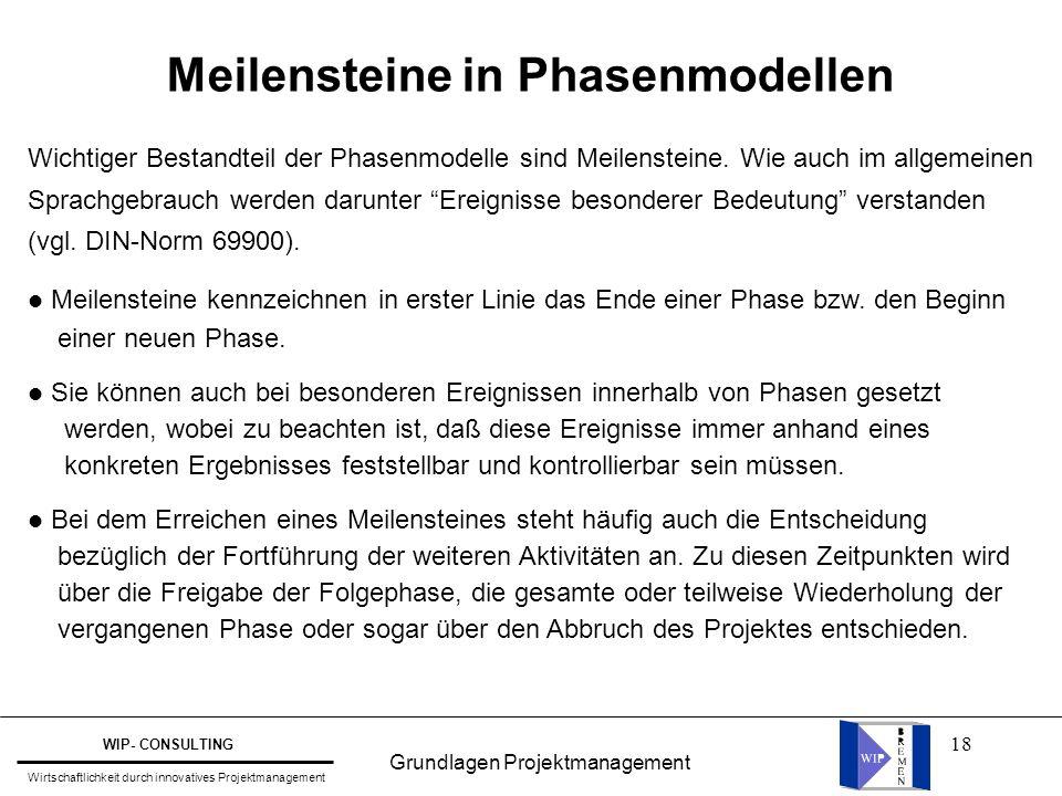"""18 Meilensteine in Phasenmodellen Wichtiger Bestandteil der Phasenmodelle sind Meilensteine. Wie auch im allgemeinen Sprachgebrauch werden darunter """"E"""