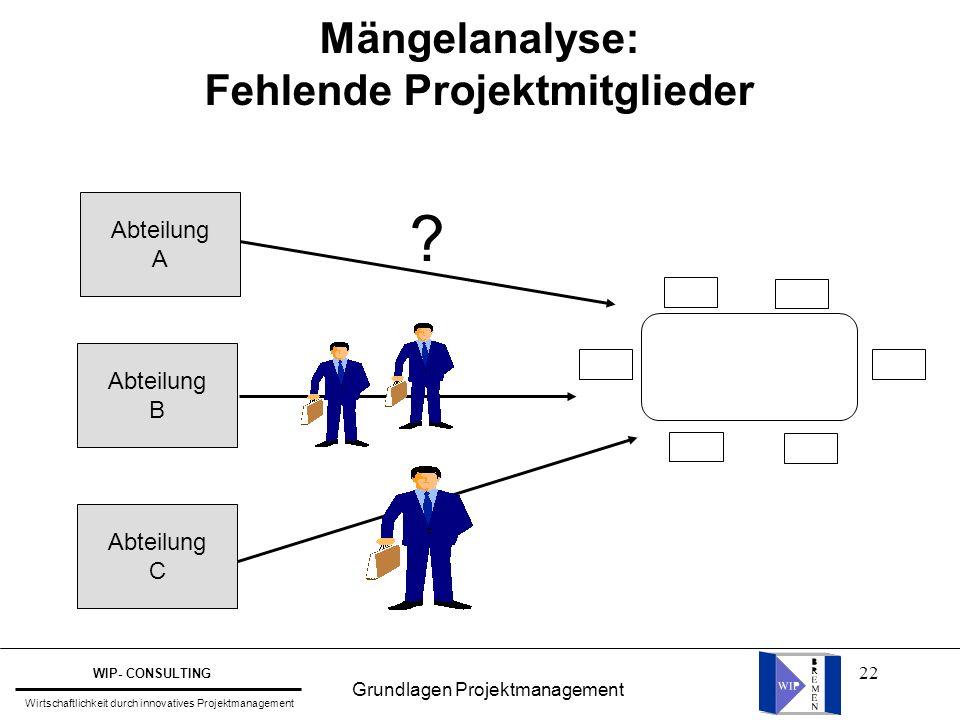 22 Mängelanalyse: Fehlende Projektmitglieder Abteilung A Abteilung B Abteilung C ? Grundlagen Projektmanagement WIP- CONSULTING Wirtschaftlichkeit dur