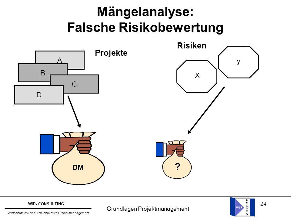 24 Mängelanalyse: Falsche Risikobewertung A B C D DM ? X y Projekte Risiken Grundlagen Projektmanagement WIP- CONSULTING Wirtschaftlichkeit durch inno