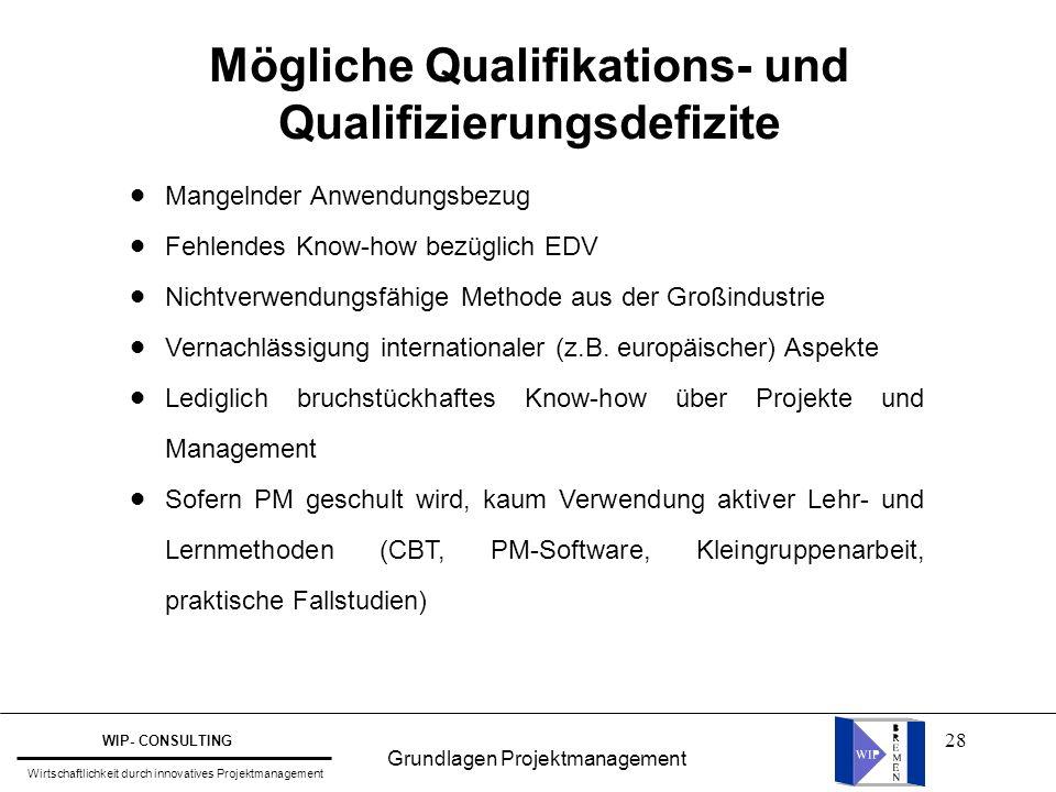 28 Mögliche Qualifikations- und Qualifizierungsdefizite l l l l l l l l l l l l Mangelnder Anwendungsbezug Fehlendes Know-how bezüglich EDV Nichtverwe