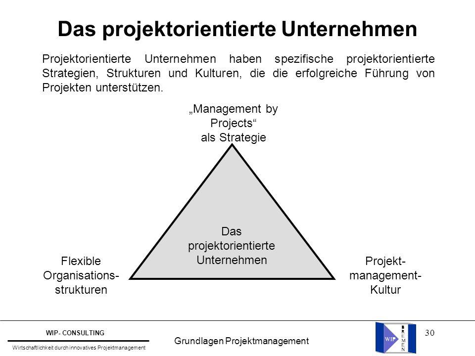 30 Das projektorientierte Unternehmen Projektorientierte Unternehmen haben spezifische projektorientierte Strategien, Strukturen und Kulturen, die die