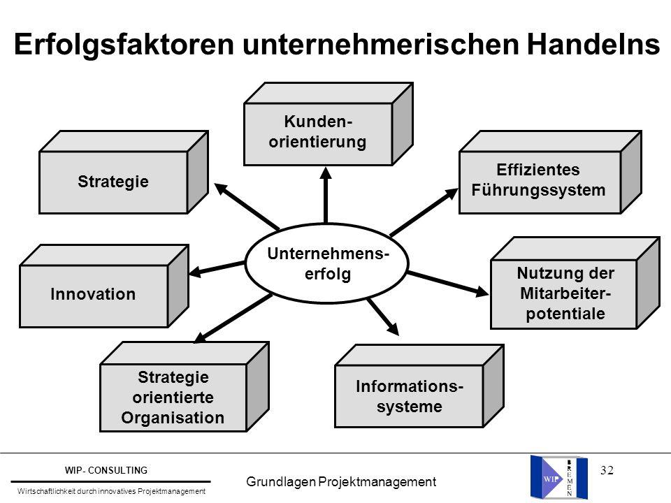 32 Erfolgsfaktoren unternehmerischen Handelns Kunden- orientierung Informations- systeme Innovation Unternehmens- erfolg Effizientes Führungssystem Nu