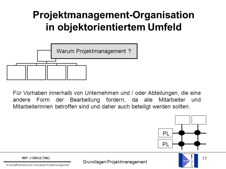 33 Projektmanagement-Organisation in objektorientiertem Umfeld Warum Projektmanagement .