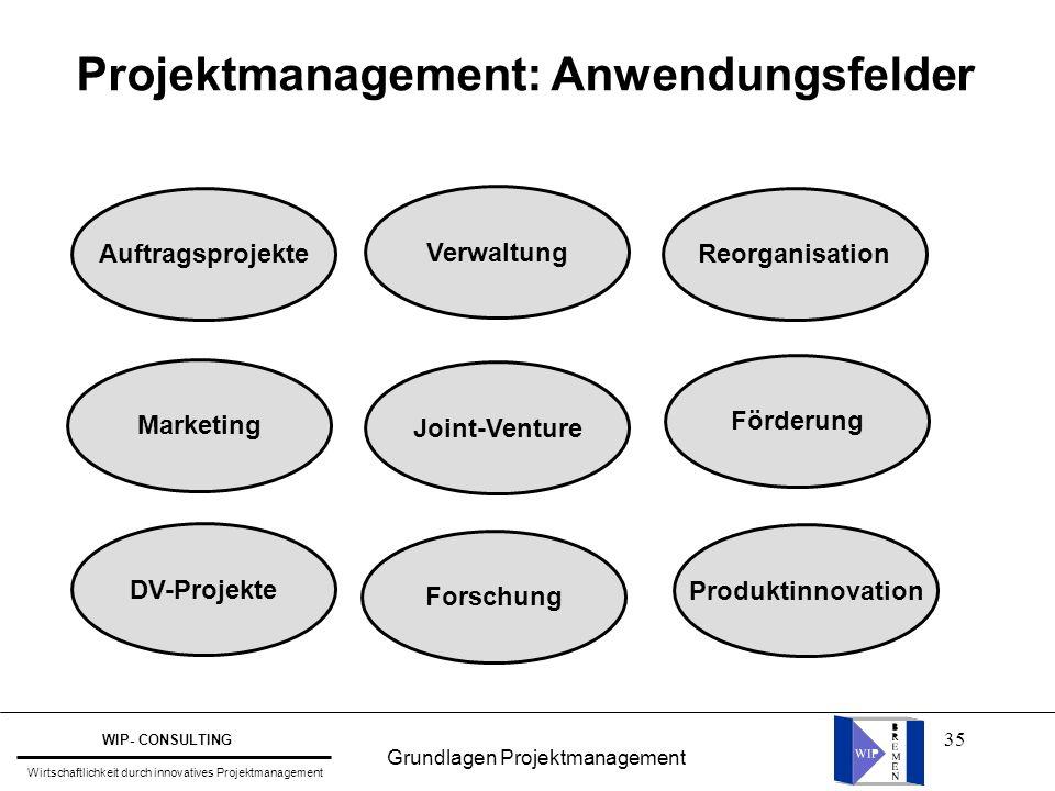 35 Projektmanagement: Anwendungsfelder Auftragsprojekte Marketing DV-Projekte Joint-Venture Produktinnovation Förderung Reorganisation Forschung Verwa