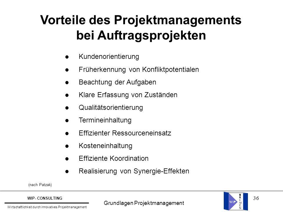 36 Vorteile des Projektmanagements bei Auftragsprojekten l Kundenorientierung l Früherkennung von Konfliktpotentialen l Beachtung der Aufgaben l Klare