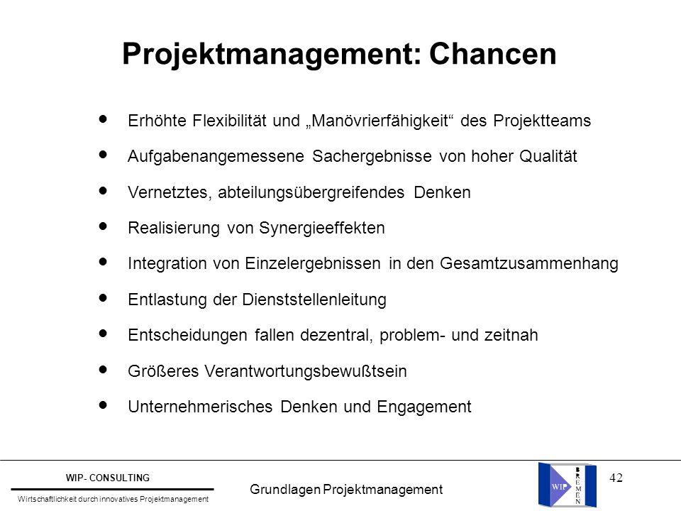 """42 Projektmanagement: Chancen Erhöhte Flexibilität und """"Manövrierfähigkeit"""" des Projektteams Aufgabenangemessene Sachergebnisse von hoher Qualität Ver"""