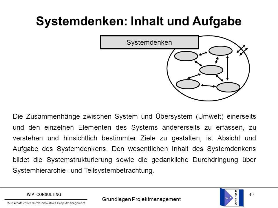 47 Systemdenken: Inhalt und Aufgabe Systemdenken Die Zusammenhänge zwischen System und Übersystem (Umwelt) einerseits und den einzelnen Elementen des