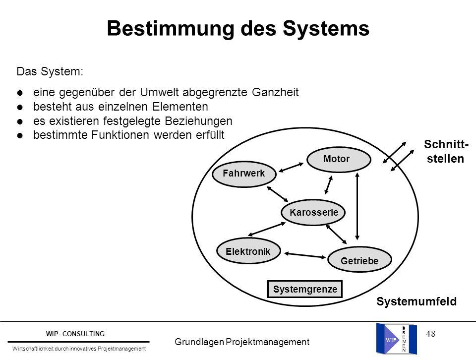48 Bestimmung des Systems Das System: l eine gegenüber der Umwelt abgegrenzte Ganzheit l besteht aus einzelnen Elementen l es existieren festgelegte B