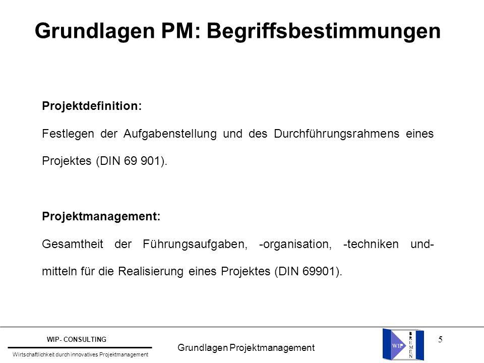 5 Projektdefinition: Festlegen der Aufgabenstellung und des Durchführungsrahmens eines Projektes (DIN 69 901). Projektmanagement: Gesamtheit der Führu