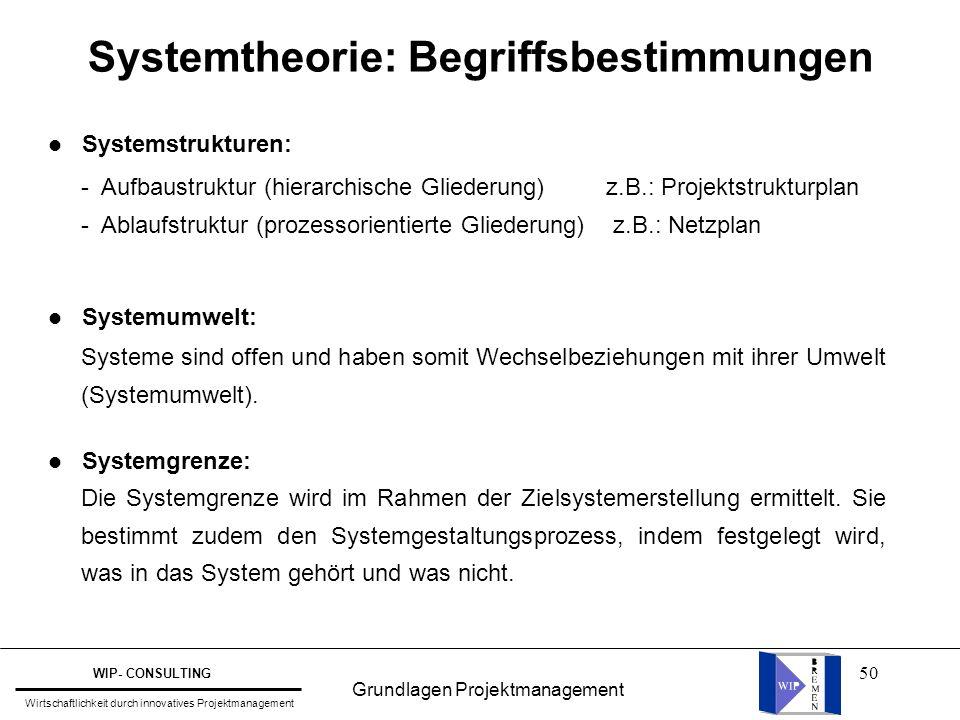 50 Systemtheorie: Begriffsbestimmungen l Systemstrukturen: l Systemumwelt: l Systemgrenze: - Aufbaustruktur (hierarchische Gliederung) z.B.: Projektst