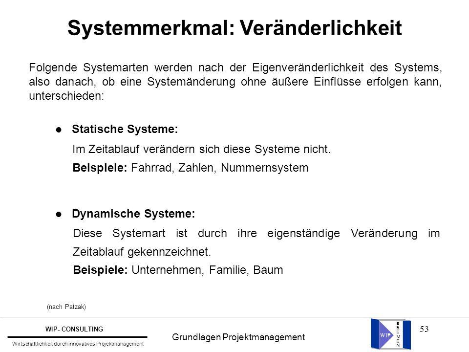 53 Systemmerkmal: Veränderlichkeit l Statische Systeme: l Dynamische Systeme: Im Zeitablauf verändern sich diese Systeme nicht. Beispiele: Fahrrad, Za