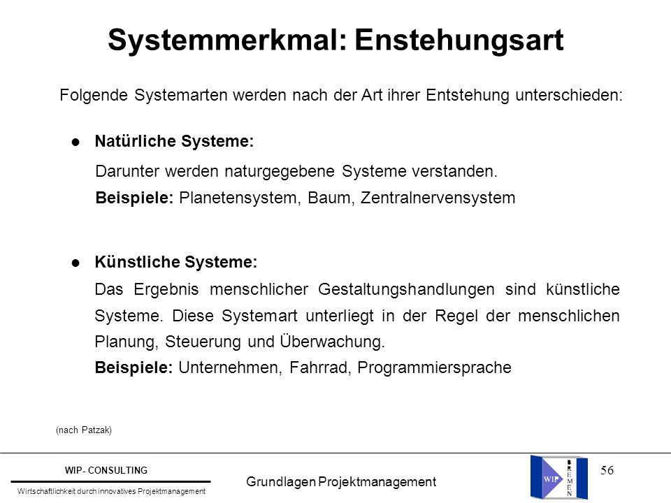 56 Systemmerkmal: Enstehungsart l Natürliche Systeme: l Künstliche Systeme: Darunter werden naturgegebene Systeme verstanden. Beispiele: Planetensyste