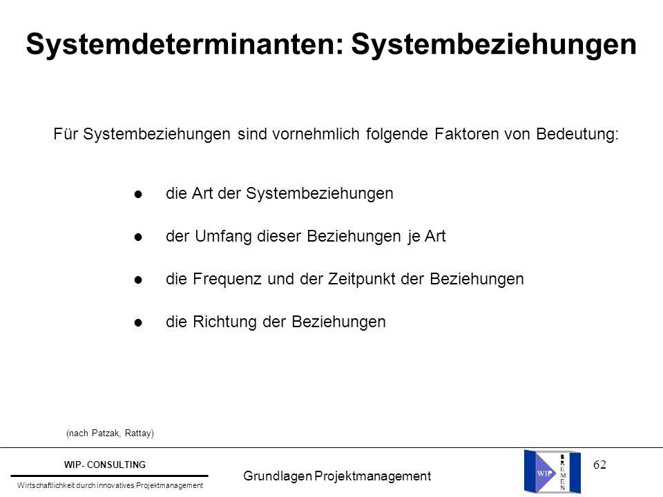 62 Systemdeterminanten: Systembeziehungen Für Systembeziehungen sind vornehmlich folgende Faktoren von Bedeutung: l die Art der Systembeziehungen l de