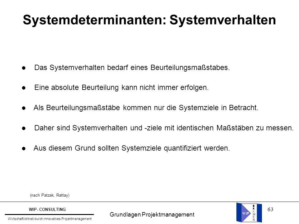 63 Systemdeterminanten: Systemverhalten l Das Systemverhalten bedarf eines Beurteilungsmaßstabes. l Eine absolute Beurteilung kann nicht immer erfolge