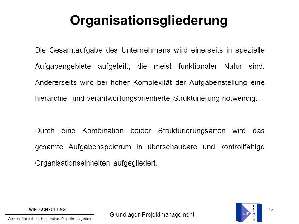 72 Organisationsgliederung Die Gesamtaufgabe des Unternehmens wird einerseits in spezielle Aufgabengebiete aufgeteilt, die meist funktionaler Natur si