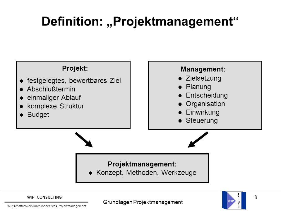 """8 Definition: """"Projektmanagement"""" Projekt: l festgelegtes, bewertbares Ziel l Abschlußtermin l einmaliger Ablauf l komplexe Struktur l Budget Manageme"""