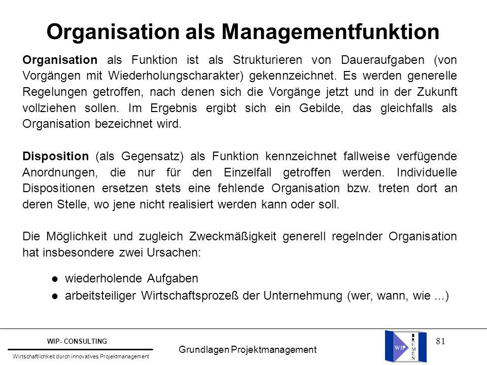 81 Organisation als Managementfunktion Organisation als Funktion ist als Strukturieren von Daueraufgaben (von Vorgängen mit Wiederholungscharakter) ge