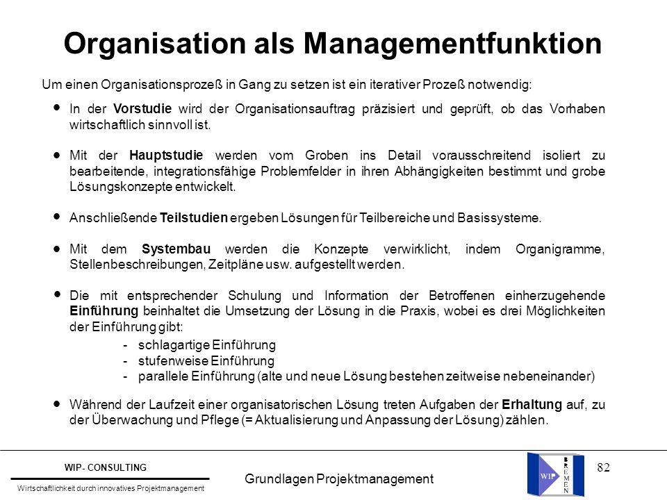 82 Organisation als Managementfunktion Um einen Organisationsprozeß in Gang zu setzen ist ein iterativer Prozeß notwendig: In der Vorstudie wird der O