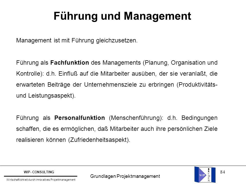 84 Führung und Management Management ist mit Führung gleichzusetzen. Führung als Fachfunktion des Managements (Planung, Organisation und Kontrolle): d