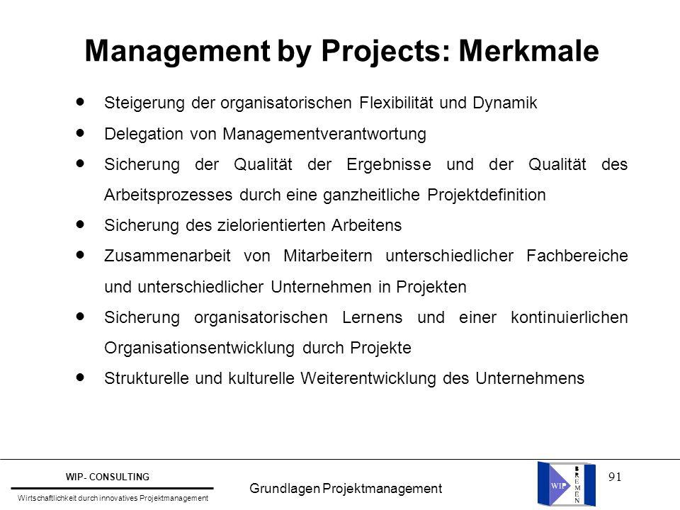 91 Management by Projects: Merkmale Steigerung der organisatorischen Flexibilität und Dynamik Delegation von Managementverantwortung Sicherung der Qua