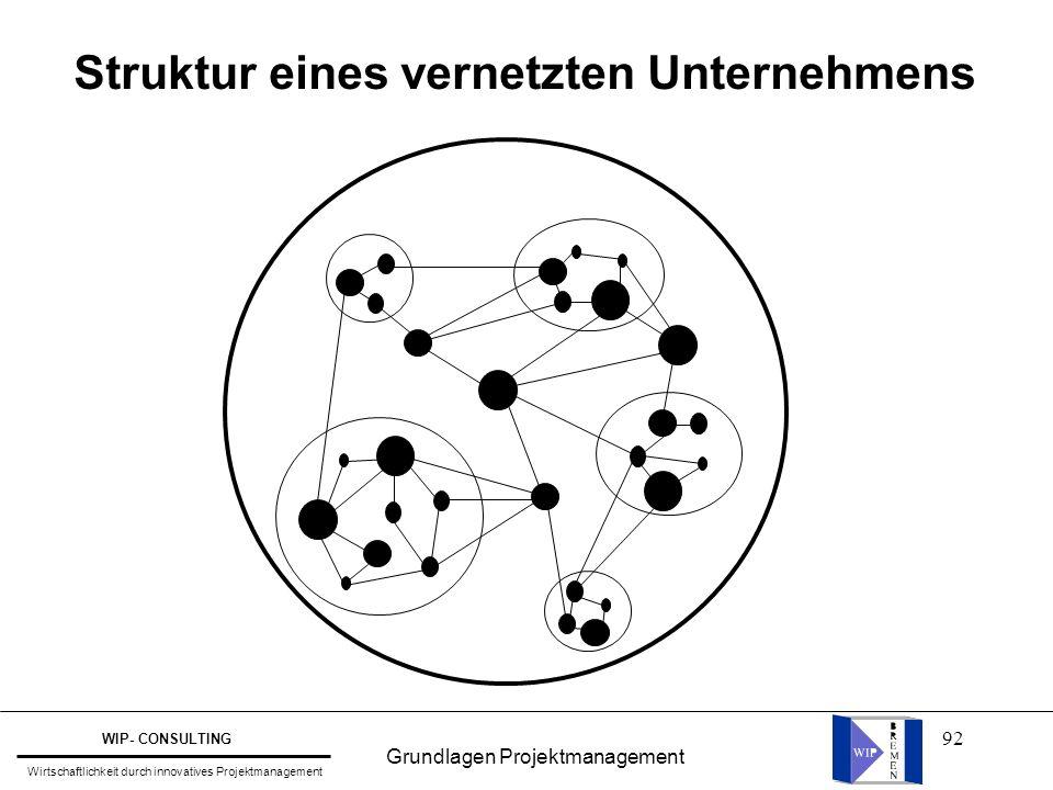 92 Struktur eines vernetzten Unternehmens Grundlagen Projektmanagement WIP- CONSULTING Wirtschaftlichkeit durch innovatives Projektmanagement