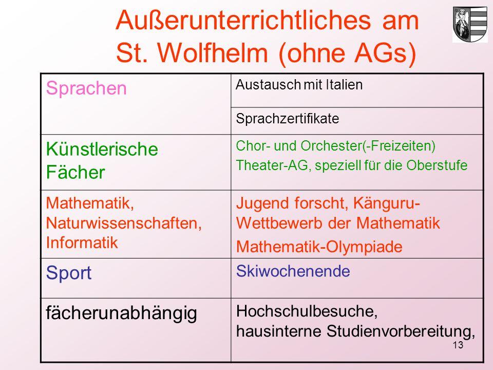 13 Sprachen Austausch mit Italien Sprachzertifikate Künstlerische Fächer Chor- und Orchester(-Freizeiten) Theater-AG, speziell für die Oberstufe Mathe