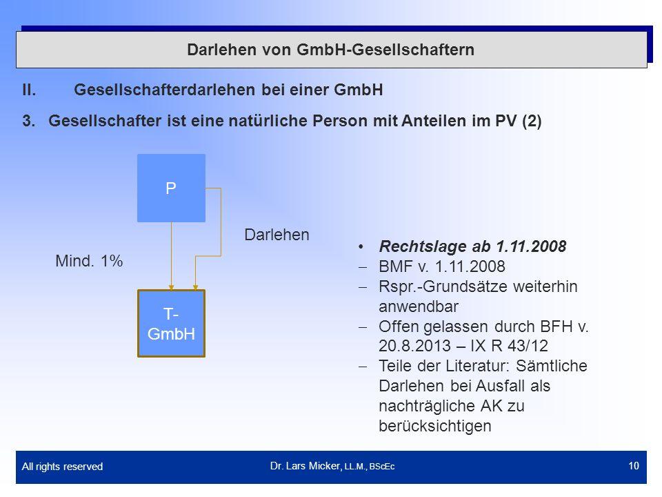 All rights reserved 10 Darlehen von GmbH-Gesellschaftern II.Gesellschafterdarlehen bei einer GmbH 3.Gesellschafter ist eine natürliche Person mit Ante
