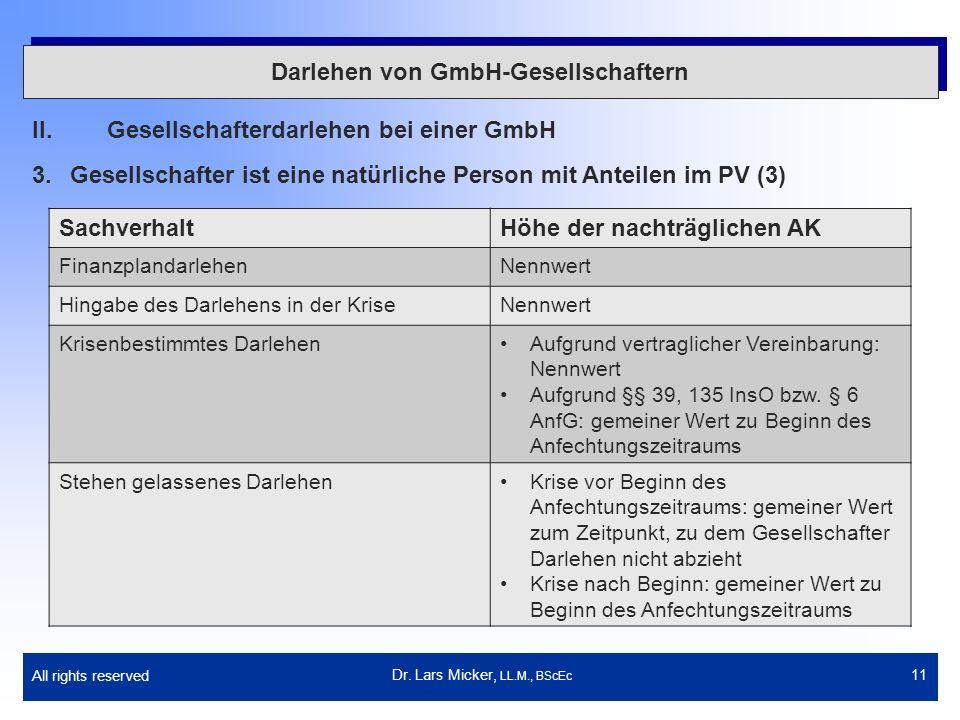 All rights reserved 11 Darlehen von GmbH-Gesellschaftern II.Gesellschafterdarlehen bei einer GmbH 3.Gesellschafter ist eine natürliche Person mit Ante