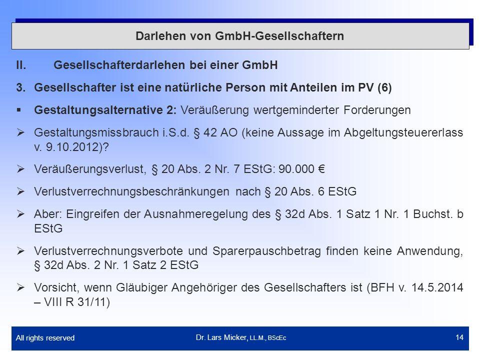 All rights reserved 14 Darlehen von GmbH-Gesellschaftern II.Gesellschafterdarlehen bei einer GmbH 3.Gesellschafter ist eine natürliche Person mit Ante