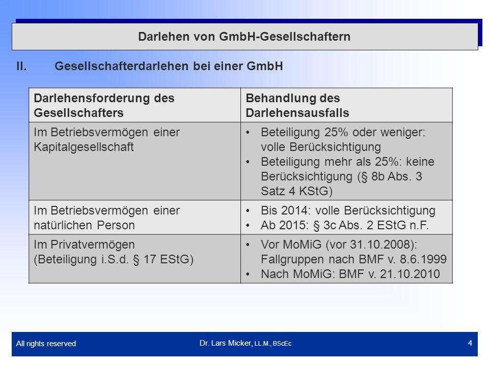 All rights reserved 4 Darlehen von GmbH-Gesellschaftern II.Gesellschafterdarlehen bei einer GmbH Dr. Lars Micker, LL.M., BScEc Darlehensforderung des