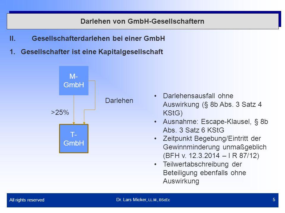 All rights reserved 6 Darlehen von GmbH-Gesellschaftern II.Gesellschafterdarlehen bei einer GmbH 2.Gesellschafter ist eine natürliche Person mit Anteilen im BV (1) Dr.